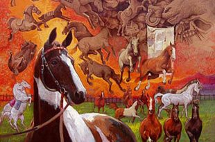 Caballo y caballitos de palo, 40x40 pulgs, Dustin Muñoz, 2006