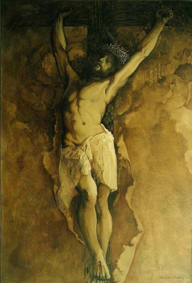 Cristo barroco, 60x40 pulgs, Dustin Muñoz, 1995