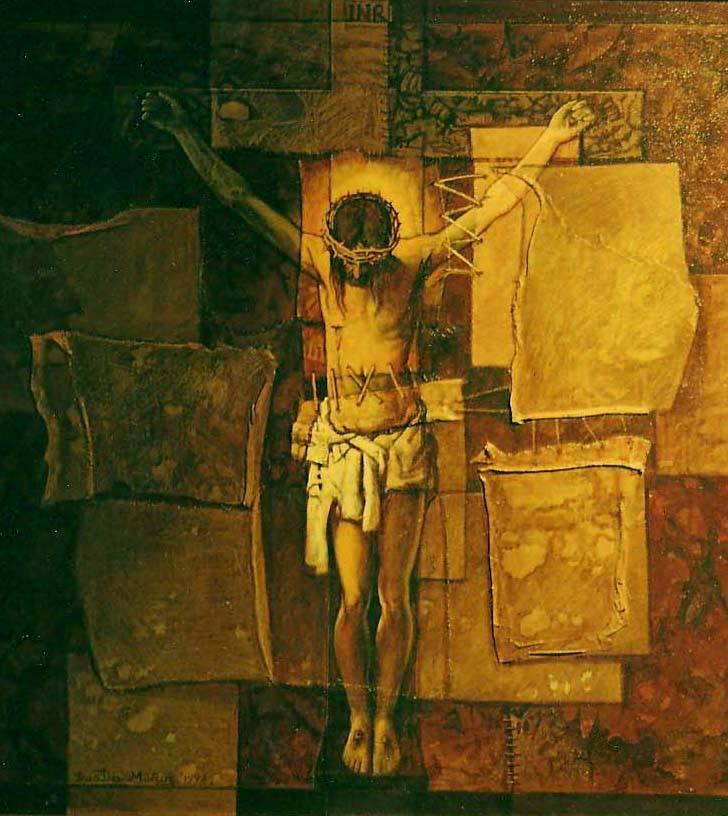 Cristo en la cruz, 30x30 pulgs, Dustin Muñoz, 1998