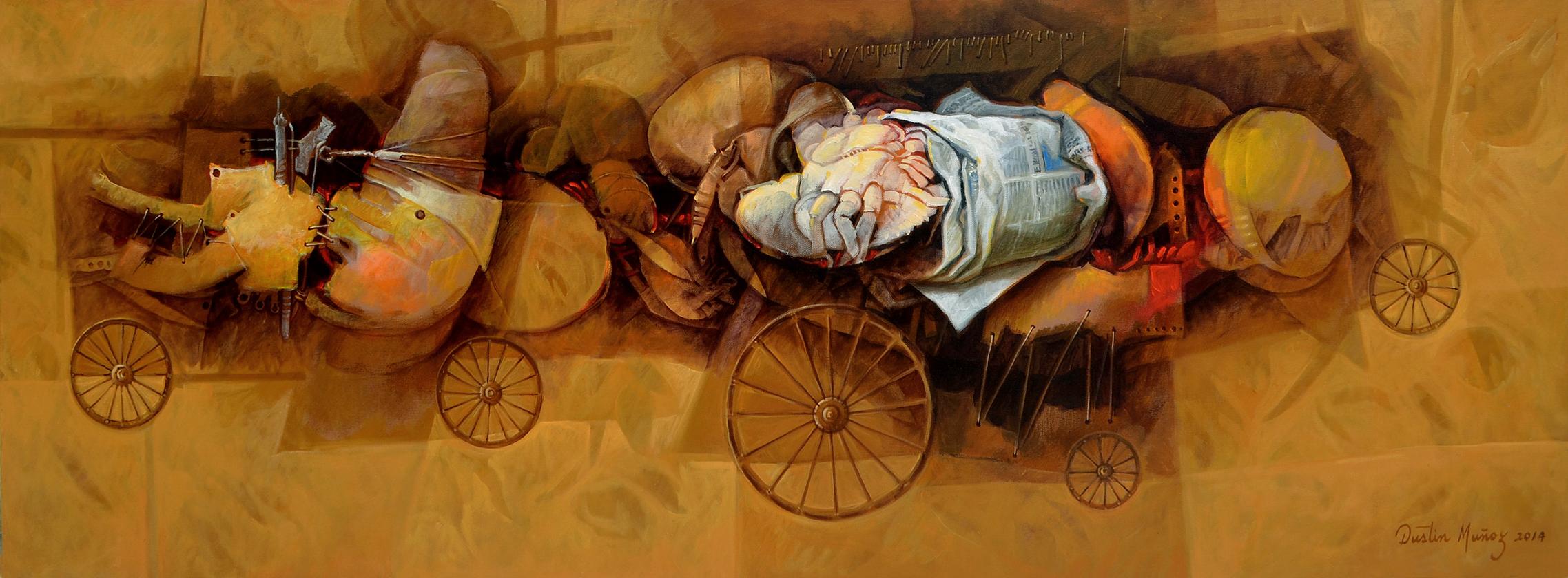 Absorbidos por la prensa, 22x60 pulgs, Dustin Muñoz, 2014