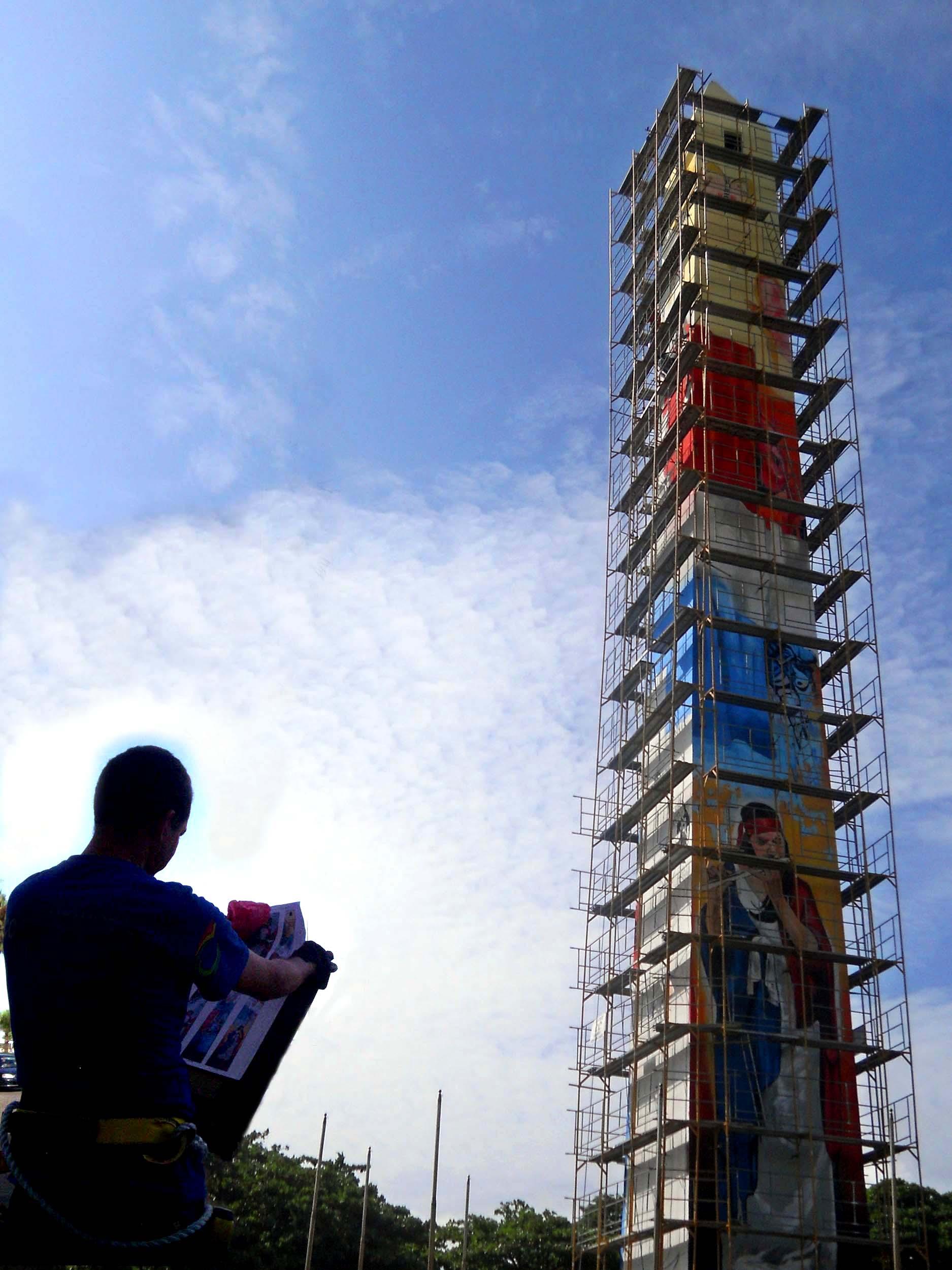 Creación Mural Obelisco Macho Malecón Santo Domingo