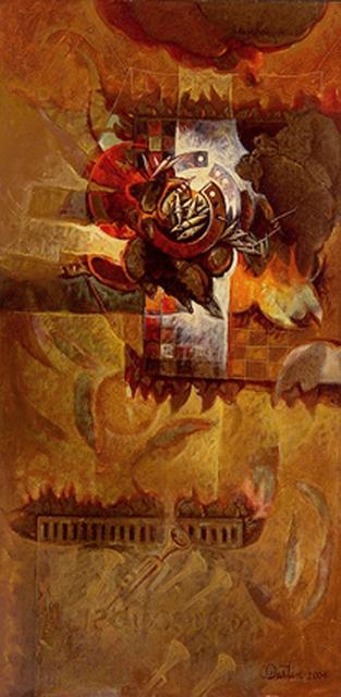 Al sonar la trompeta, acrílica sobre tela, 30x15 pulgs, Dustin Muñoz, 2004