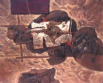 Algo extraño oculta la Historia, 60x75 pulg, acrílica sobre collage, Dustin Muñoz, 2002