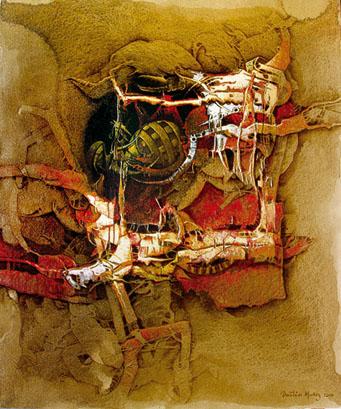 Ánfora para ocultar recuerdos, 60x50 pulgs, acrílica sobre collage-tela, Dustin Muñoz, 2006