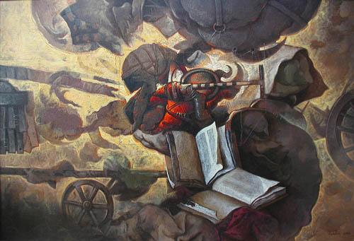 Antiguo, 36x45 pulgs, acrílica sobre tela, Dustin Muñoz, 2003