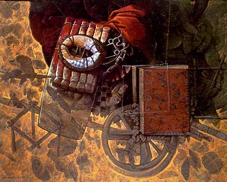 Aparejo, 30x40 pulgs, acrílica sobre tela, Dustin Muñoz, 2001