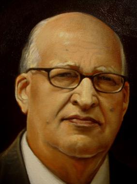 Detalle retrato Dr Enerio Rodríguez, 40x30 pulgs, Dustin Muñoz, 2012