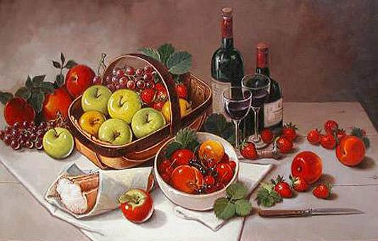Bodegón con vino, 30x40 pulgs, Dustin Muñoz