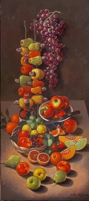 Bodegón de frutas, 30x15puls, Dustin Muñoz
