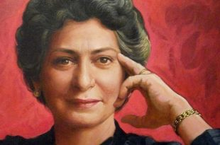 Detalle retrato Aída Bonnelly de Díaz, 36x36 pulgs, Dustin Muñoz, 2011