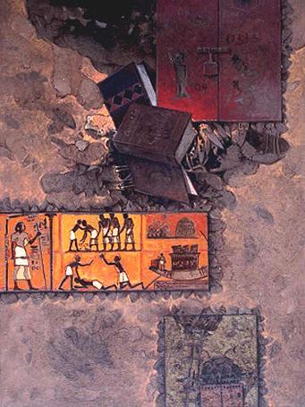 Civilización, 40x30 pugls, acrílica sobre tela, Dustin Muñoz, 2001