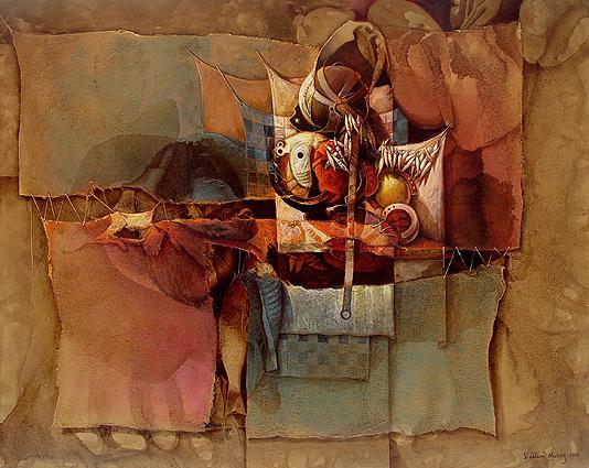 Colgando junto al fardo de mi memoria, acrílica sobre collage y tela, 60x75 pulgs, Dustin Muñoz, 2009