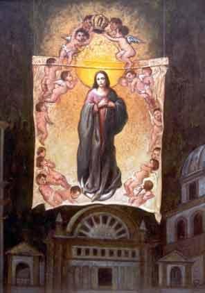 Coronación de la Virgen, 30x24 pulgs, Dustin Muñoz, 2001