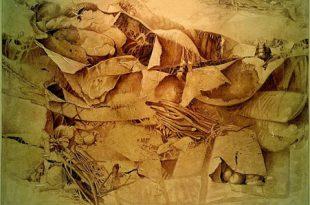 De Natura, 50x80 pulgs, acrílica sobre collage, Dustin Muñoz,1996