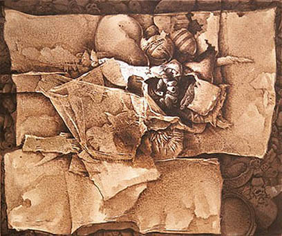 De la cultura taína, 40x47 pulgs, acrílica sobre collage y tela, Dustin Muñoz, 2002