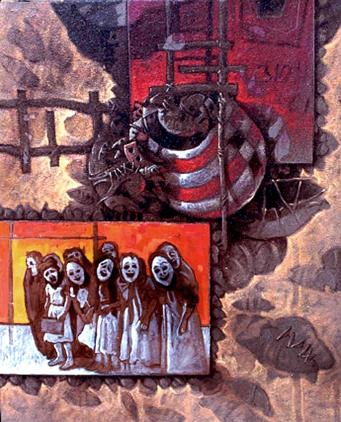 Detrás de las máscaras, 24x20, acrílica sobre tela, Dustin Muñoz, 2000