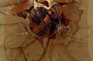 Día de cosecha, acrílica sobre collage y tela, 35x35 pulgs, Dustin Muñoz, 2009