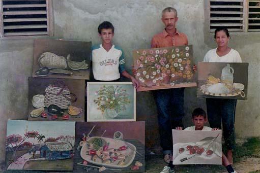 Dustin Muñoz, Rafael de Jesús Muñoz -padre del artista-, Ana Hilda Almánzar de Muñoz -madre del artista- y Carlos Muñoz
