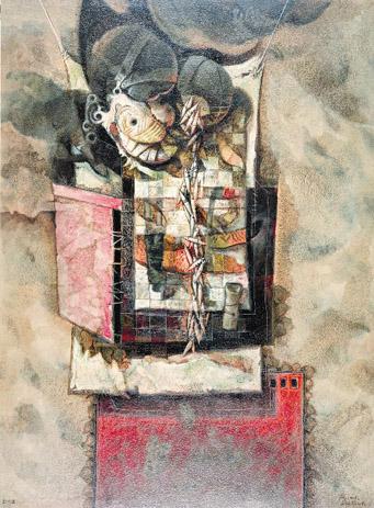 Efigie Taína, 40x30 pulgs, acrílica sobre tela, Dustin Muñoz, 2002
