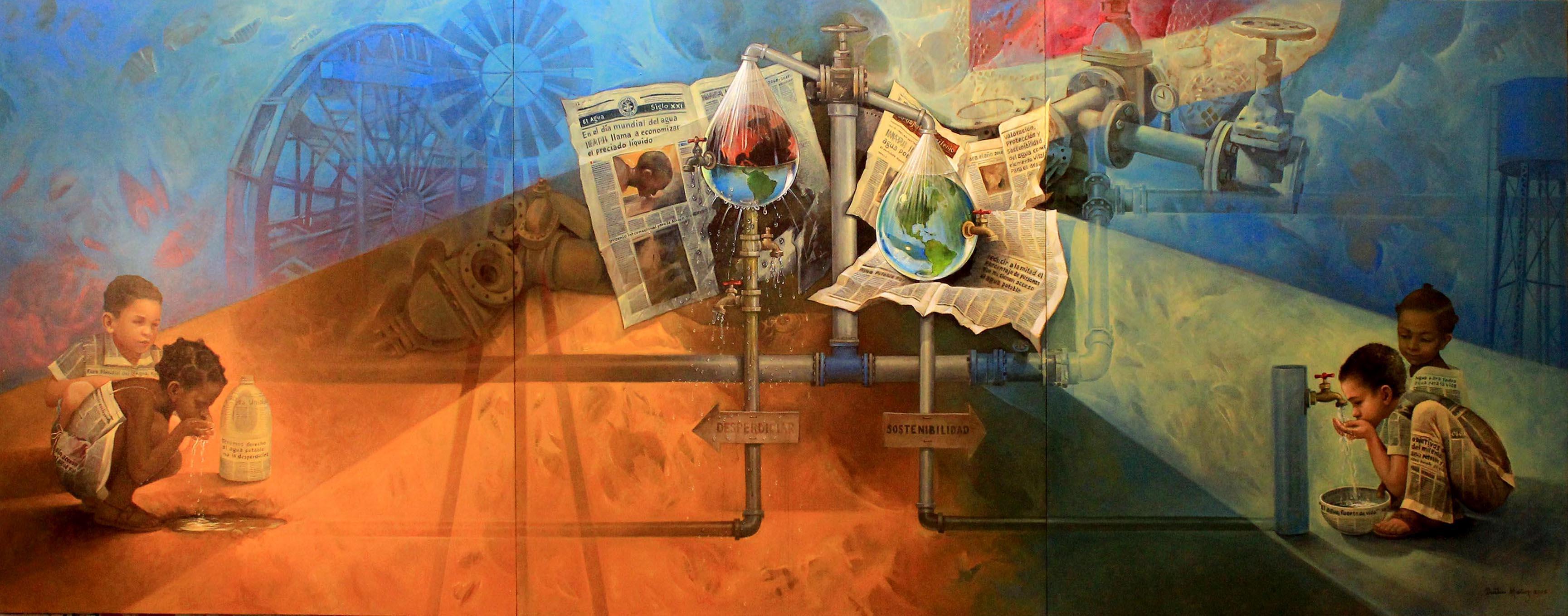 El agua en el siglo XXI, 70″ x 180″ pulgs, Dustin Muñoz, 2015