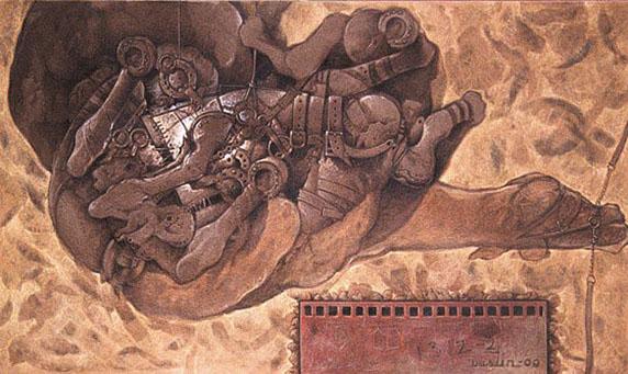 El inquieto momento de su reposo, 40x65 pulgs, acrílica sobre tela, Dustin Muñoz, 2000