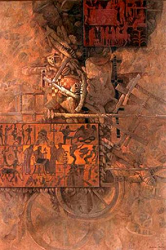 El mito de Pan, 80x60 pulgs, acrílica sobre tela, Dustin Muñoz, 2009
