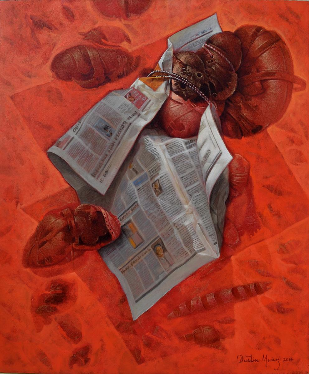 Envuelto en periódico, 36x30 pulgs, Dustin Muñoz, 2014