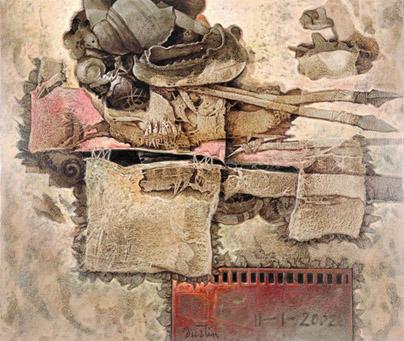 Fragmento de la Historia, 34x40 pulgs, acrílica sobre collage y tela, Dustin Muñoz, 2002
