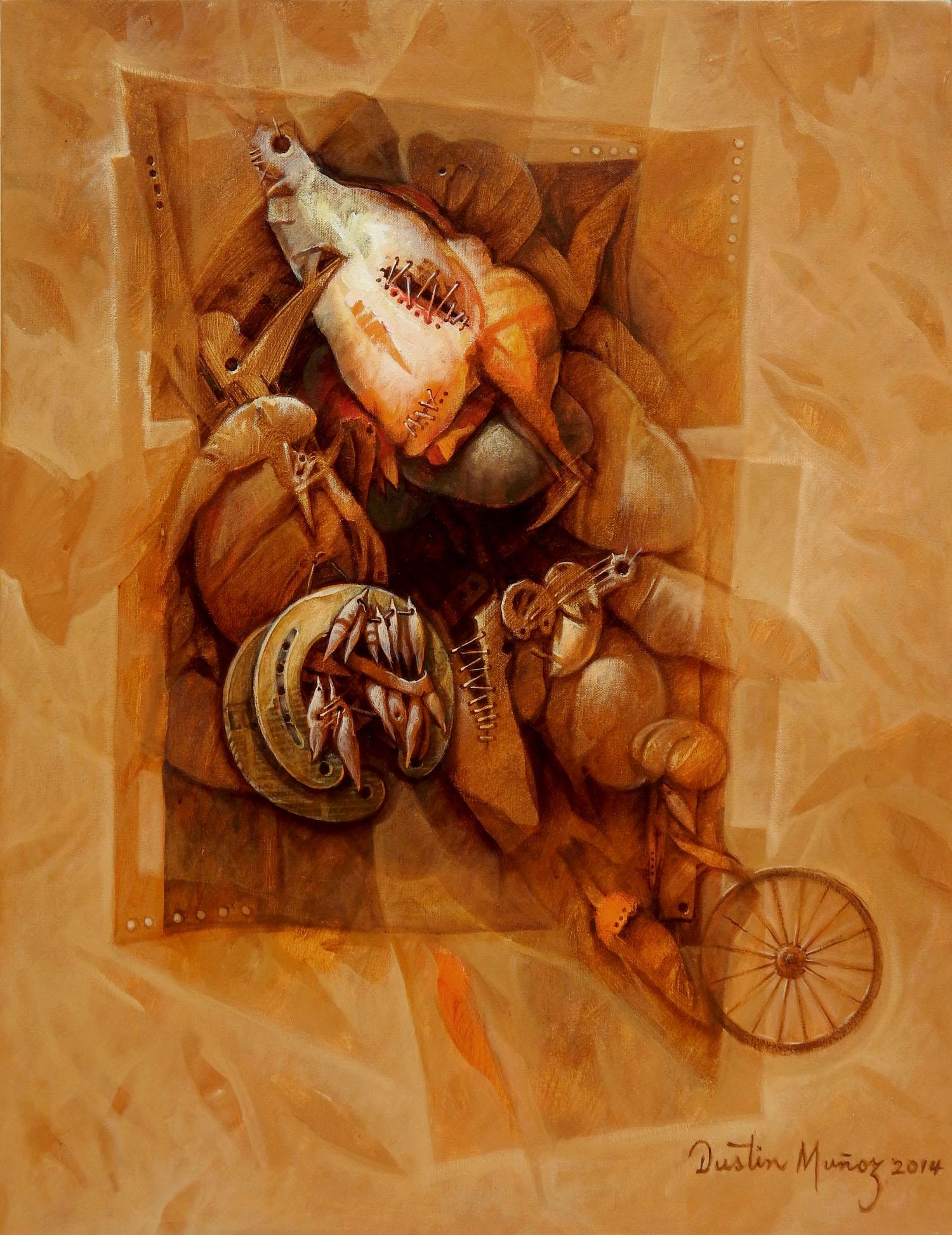 Huellas de un transporte superado, acrílico sobre tela 68 x 53 Cms, Dustin Muñoz, 2014