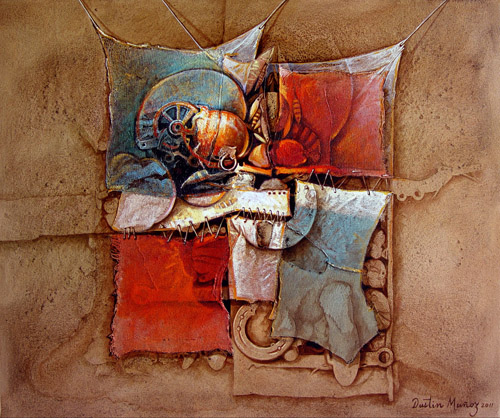 Intimismo, 89cm x 100cm, acrilica sobre collage, Dustin Muñoz, 2011