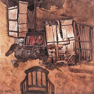 Intuición para una mirada del abuelo, 60x60 pulgs, acrílica sobre collage-tela, Dustin Muñoz, 2001