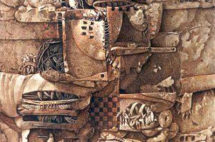 Juegos infantiles, 55x50 pulgs, acrílica sobre collage-tela, Dustin Muñoz,1998
