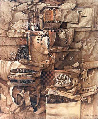 Juegos infantiles, 55x50 pulgs, acrílica sobre collage tela, Dustin Muñoz,1998