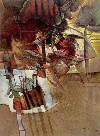La creación, 40x30 pulgs, acrílica sobre tela, Dustin Muñoz, 2004