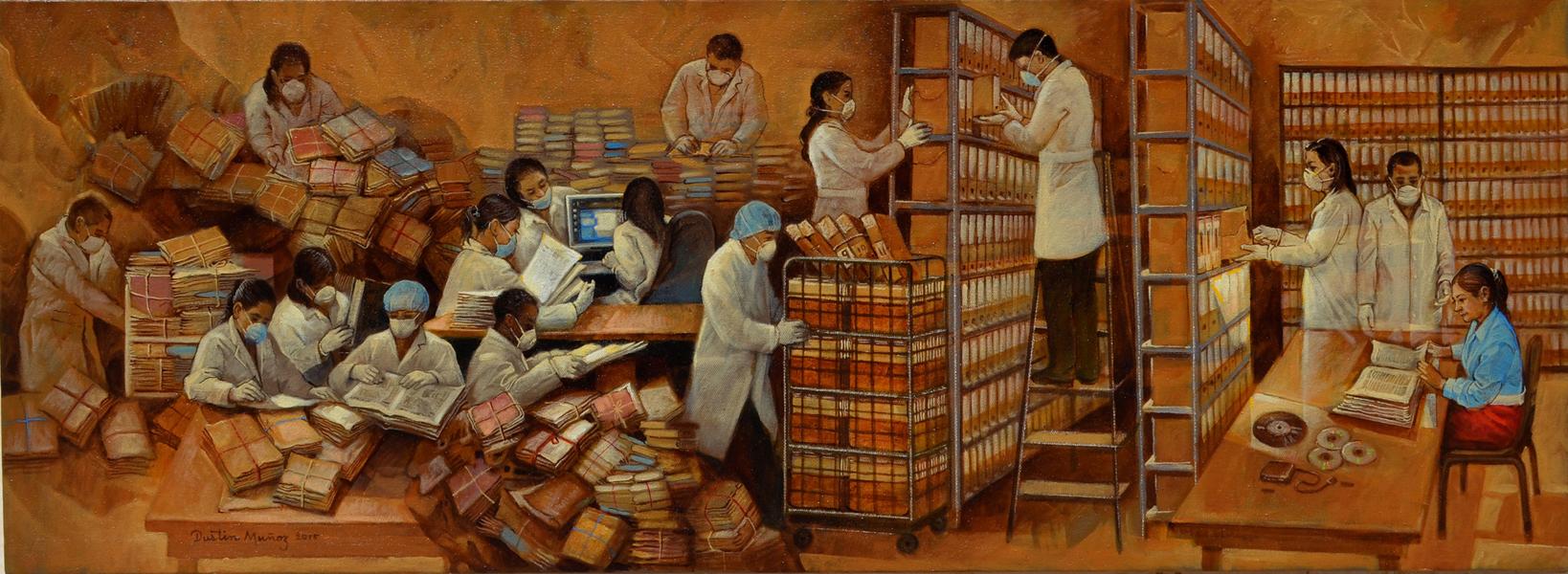 Proyecto del mural La cuidadosa y delicada misión del Archivo General de la Nación, para concurso del AGN, ganador del premio único, Dustin Muñoz, 2016