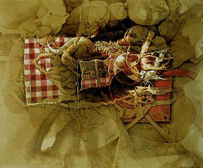 Manifestación sensible de una idea, 50x60 pulgs, acrílica-collage sobre tela, Dustin Muñoz, 2006