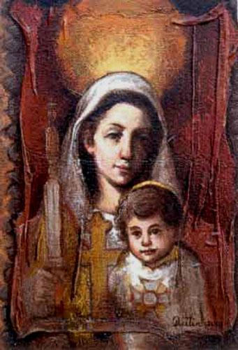 María y el Niño, 16x12 pulgs, Dustin Muñoz, 2001