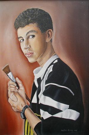 Mi autorretrato, 30x22 pulgs, Dustin Muñoz,1988