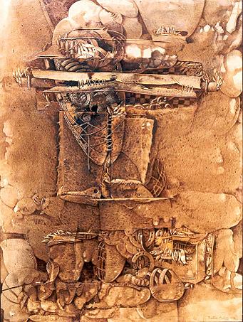 Mito de Prometeo, 49x58 pulgs, acrílica sobre collage, Dustin Muñoz, 2008