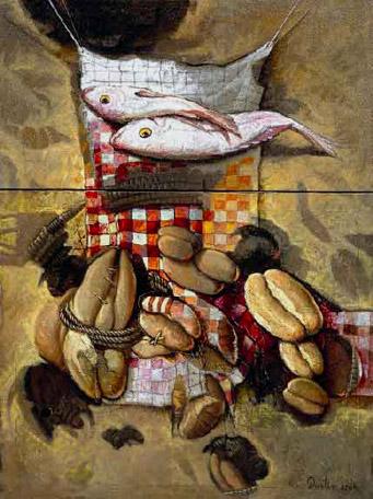 Bodegón multiplicación de panes y peces, 40x30 pulgs, Dustin Muñoz, 2004
