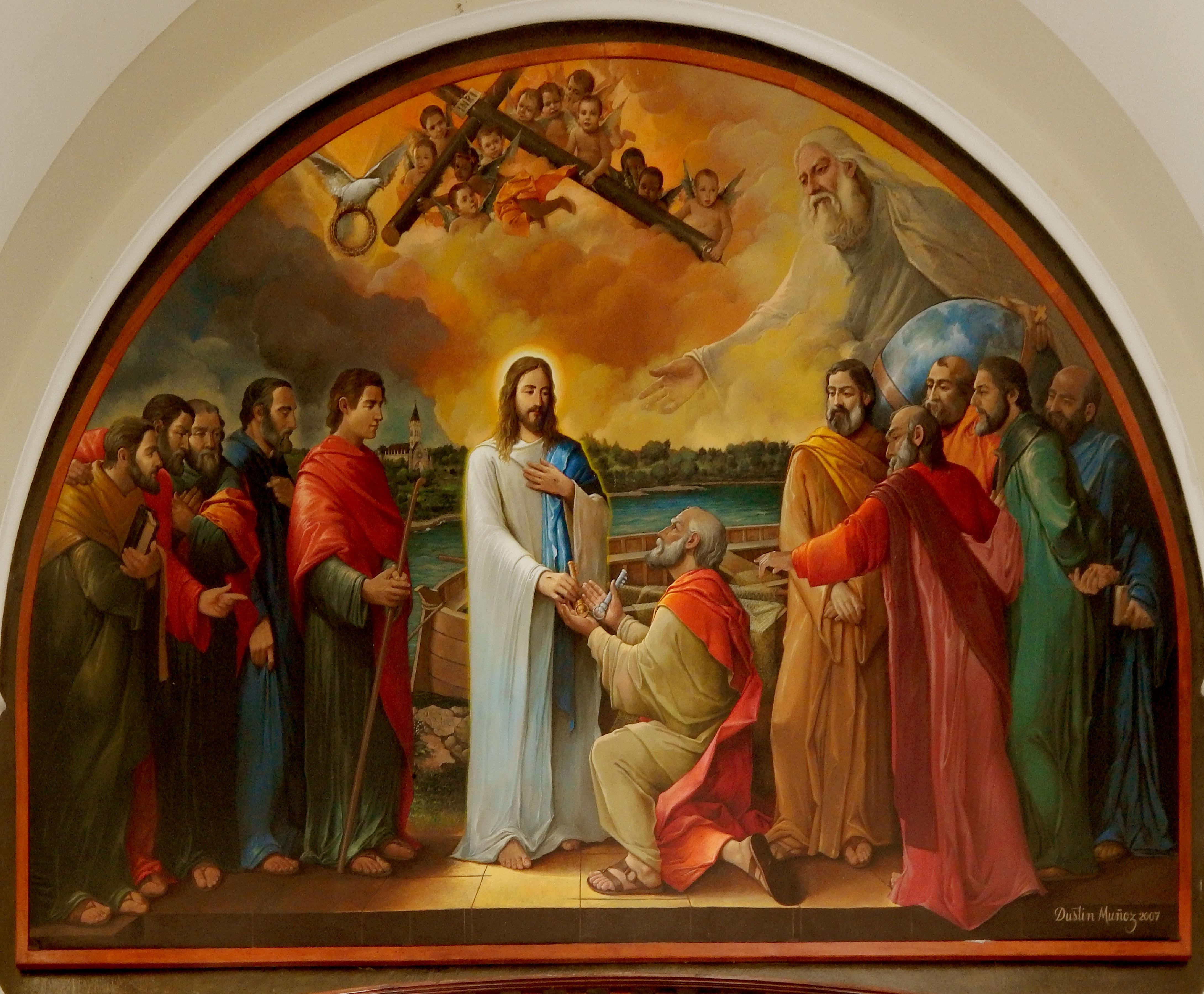 Mural Jesús entregando las llaves a Pedro, 215x315 pulgs., 2007. Ubicada Catedral de San Pedro de Macorís