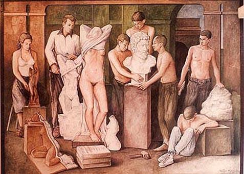 Mural al fresco, 90x150 pulgs, Dustin Muñoz, 1997. Pared interna de la Escuela Nacional de Artes Visuales (ENAV)