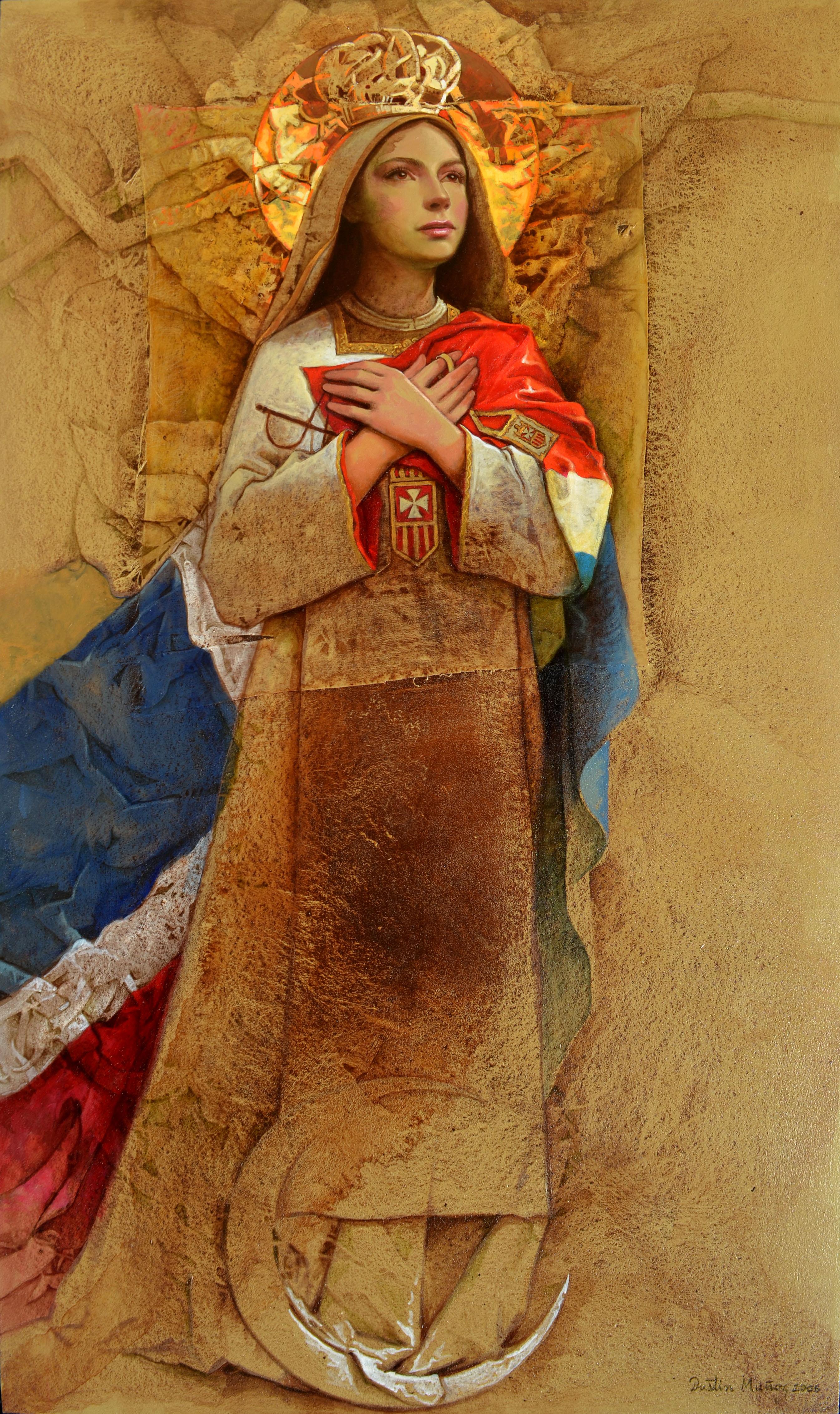 Nuestra Señora de Las Mercedes, 65x40pulgs, acrílica-collage sobre tela, Dustin Muñoz, 2006
