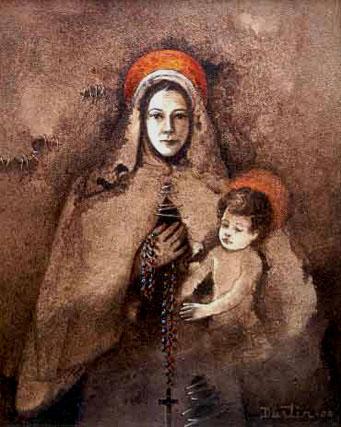 Nuestra Señora del Rosario, 20x16 pulgs, Dustin Muñoz, 2001