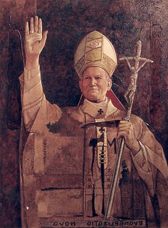 Papa Juan Pablo ll, 40x30 pulgs, Dustin Munoz 1998