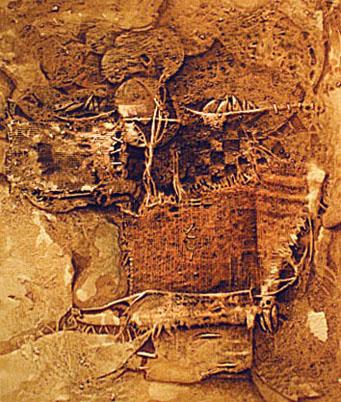 Residuo, 24x20 pulgs, acrílica-collage, Dustin Muñoz,1996
