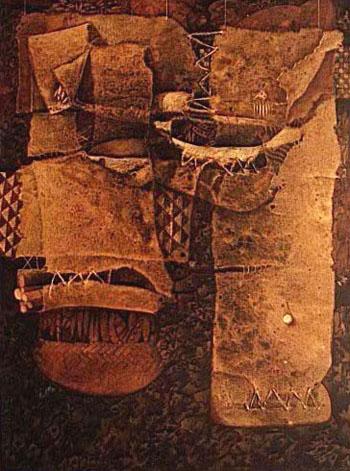 Residuo cultural, 60x50 pulgs, acrílica sobre collage-tela, Dustin Muñoz, 1997