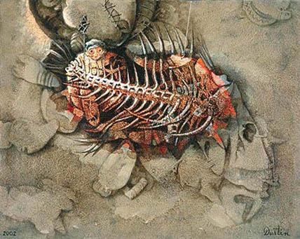 Restos de un acuático, 24x30 pulgs, acrílica sobre tela, Dustin Muñoz, 2002