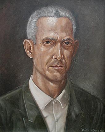 Retrato de mi Padre Rafael de Jesus Muñoz -Fello-, 24x18 pulgs, óleo, Dustin Muñoz, 1991