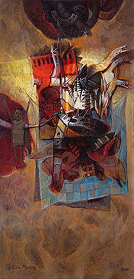 Ristra de recuerdos, acrílica sobre tela, 30x15 pulgs, Dustin Muñoz, 2008